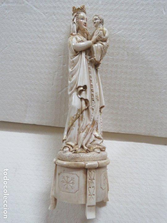 Arte: FANTASTICA TALLA DE LA VIRGEN CON NIÑO JESUS EN MARFIL Y PAN DE ORO,DE FINALES SIGLO XVIII, 35,5 CMS - Foto 8 - 175409664