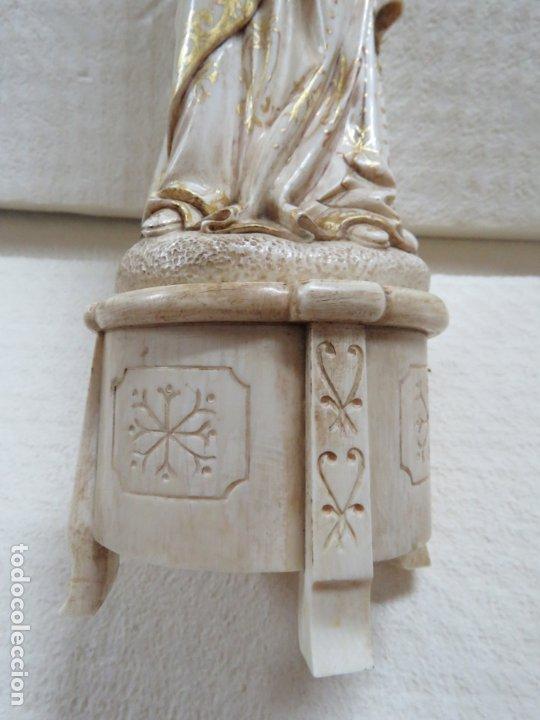 Arte: FANTASTICA TALLA DE LA VIRGEN CON NIÑO JESUS EN MARFIL Y PAN DE ORO,DE FINALES SIGLO XVIII, 35,5 CMS - Foto 14 - 175409664
