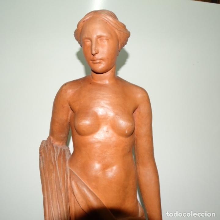 Arte: Gran escultura en terracota anónima.mujer con haz de espigas. - Foto 2 - 175461550