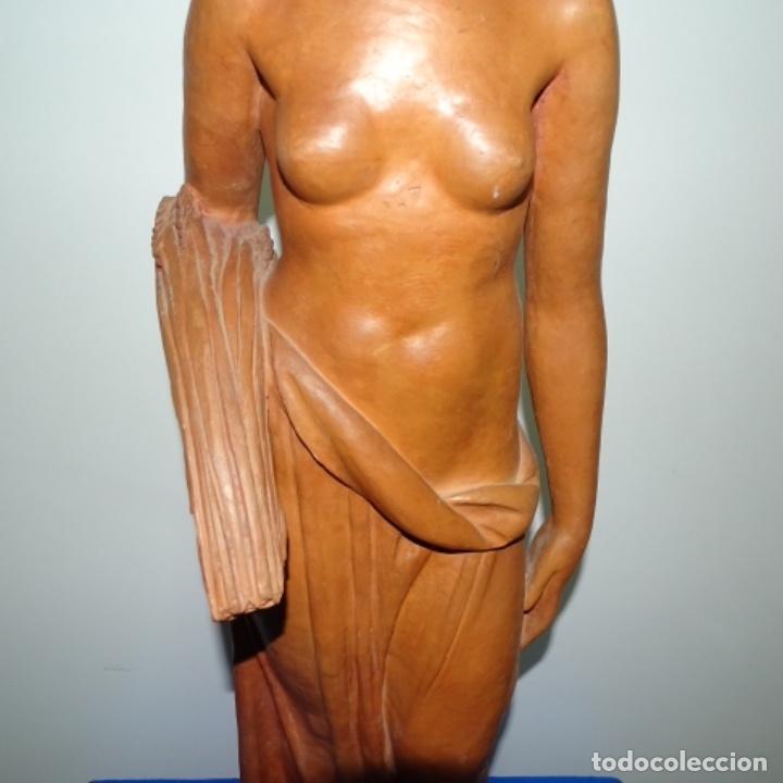 Arte: Gran escultura en terracota anónima.mujer con haz de espigas. - Foto 3 - 175461550
