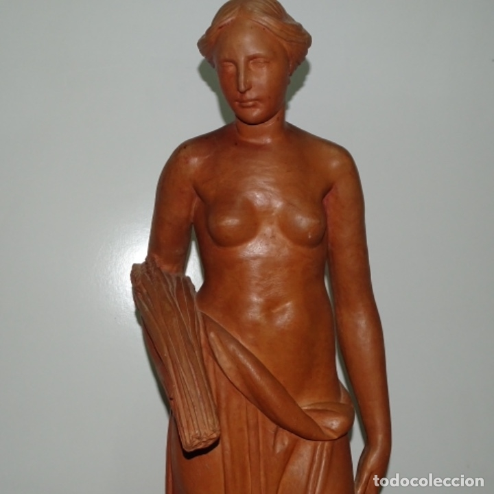 Arte: Gran escultura en terracota anónima.mujer con haz de espigas. - Foto 4 - 175461550