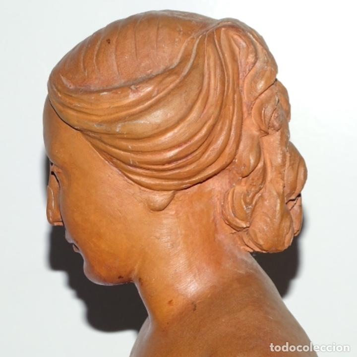 Arte: Gran escultura en terracota anónima.mujer con haz de espigas. - Foto 9 - 175461550