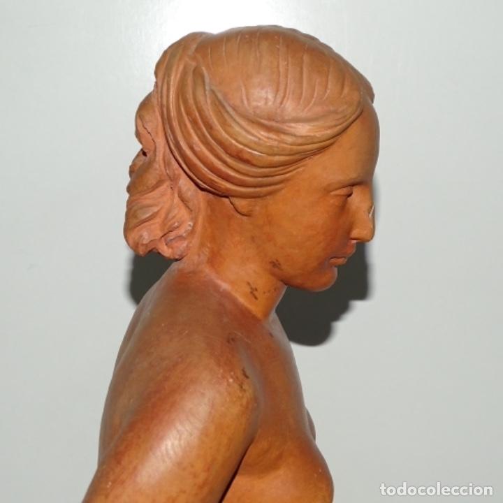 Arte: Gran escultura en terracota anónima.mujer con haz de espigas. - Foto 16 - 175461550