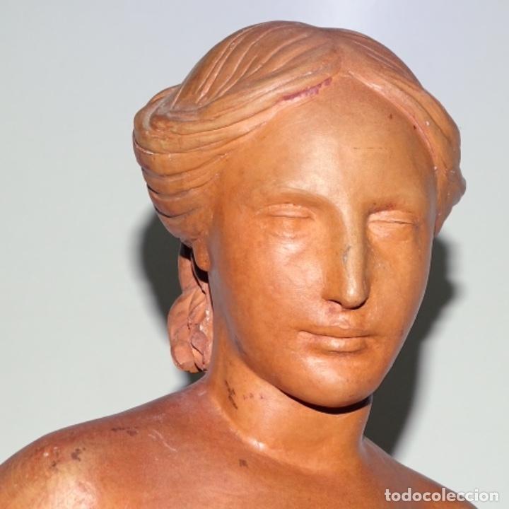 Arte: Gran escultura en terracota anónima.mujer con haz de espigas. - Foto 20 - 175461550