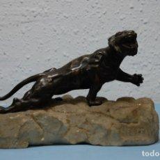 Arte: ESCULTURA PANTERA EN BRONCE SOBRE PEANA DE PIEDRA. Lote 175608598
