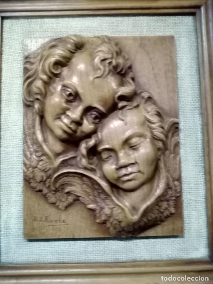 Arte: precioso cuadro en talla de madera j.j.rueda - 40x46 - Foto 2 - 175654804