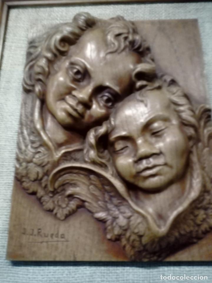 Arte: precioso cuadro en talla de madera j.j.rueda - 40x46 - Foto 3 - 175654804