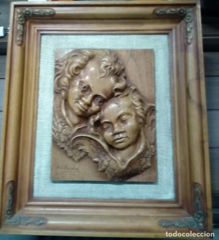Arte: precioso cuadro en talla de madera j.j.rueda - 40x46 - Foto 6 - 175654804