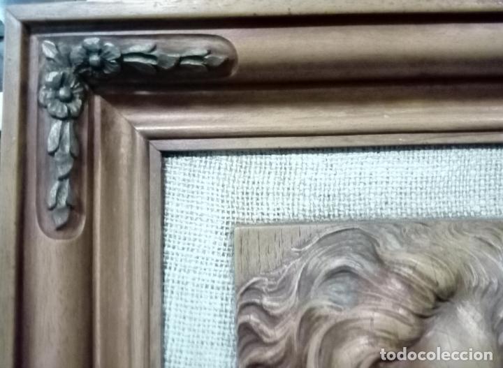 Arte: precioso cuadro en talla de madera j.j.rueda - 40x46 - Foto 8 - 175654804