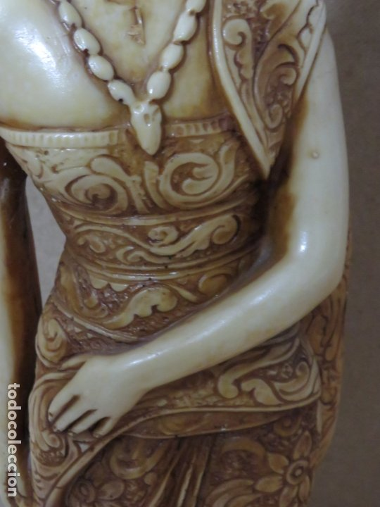 Arte: TREMENDA TALLA THAILANDESA EN MARFILINA, 63 CMS DE ALTA Y 5 KILOS DE PESO, MIL DETALLES,EXPECTACULAR - Foto 11 - 175702592