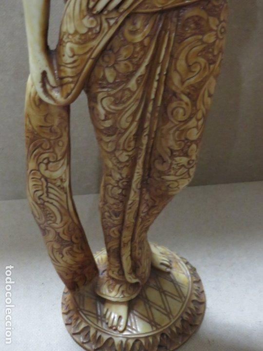 Arte: TREMENDA TALLA THAILANDESA EN MARFILINA, 63 CMS DE ALTA Y 5 KILOS DE PESO, MIL DETALLES,EXPECTACULAR - Foto 15 - 175702592
