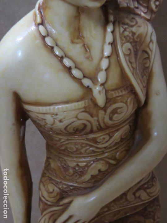 Arte: TREMENDA TALLA THAILANDESA EN MARFILINA, 63 CMS DE ALTA Y 5 KILOS DE PESO, MIL DETALLES,EXPECTACULAR - Foto 18 - 175702592