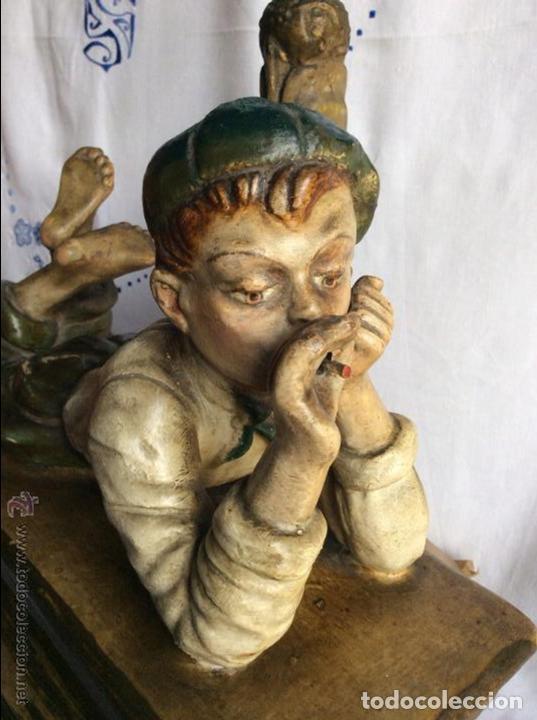 ART NOVEAU, FIGURA EN TERRACOTA POLICROMADA ,MODERNISTA (Arte - Escultura - Terracota )
