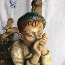 Arte: ART NOVEAU, FIGURA EN TERRACOTA POLICROMADA ,MODERNISTA. Lote 175842314