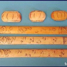 Arte: LOTE DE 6 PLACAS EN MARFIL DIBUJOS CHINOS PARA INCRUSTACIONES. Lote 175846232