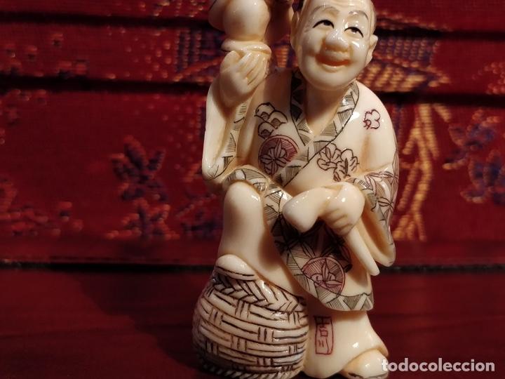 Arte: Antigua colección de 12 netsukes de marfil, con delicada talla y motivos. Firmados. - Foto 9 - 53845044