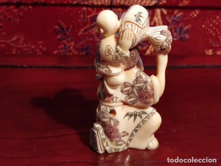 Arte: Antigua colección de 12 netsukes de marfil, con delicada talla y motivos. Firmados. - Foto 27 - 53845044