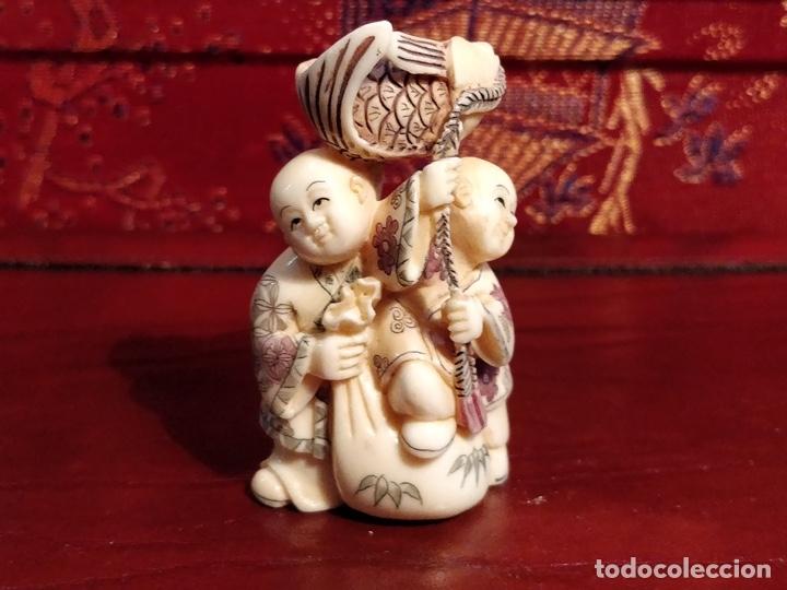 Arte: Antigua colección de 12 netsukes de marfil, con delicada talla y motivos. Firmados. - Foto 35 - 53845044