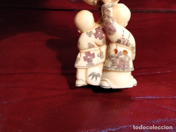Arte: Antigua colección de 12 netsukes de marfil, con delicada talla y motivos. Firmados. - Foto 37 - 53845044