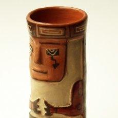 Arte: JARRÓN VASO RITUAL AZTECA REPRODUCCIÓN ARTESANÍA PRECOLOMBINA ÉTNICA MEXICO TERRACOTA PINTADA A MANO. Lote 176101790