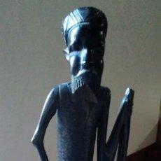 Arte: FIGURA AFRICANA MADERA DE EBANO / 41 X 10 X 5 CM. Lote 176417764