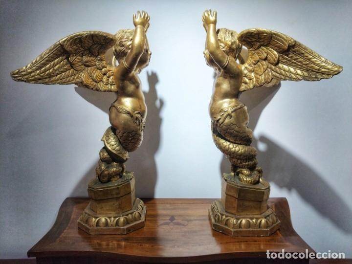 Arte: Par de Esculturas en Madera Dorada Siglo XIX - Foto 2 - 176516559