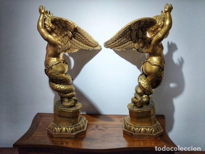 Arte: Par de Esculturas en Madera Dorada Siglo XIX - Foto 4 - 176516559