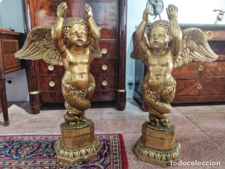 Arte: Par de Esculturas en Madera Dorada Siglo XIX - Foto 8 - 176516559