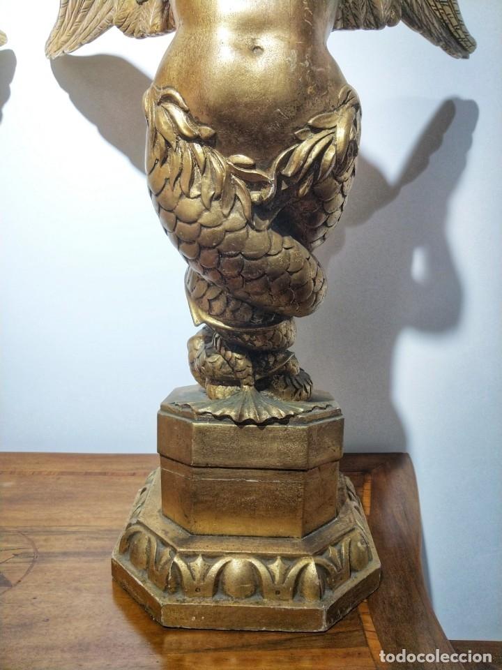 Arte: Par de Esculturas en Madera Dorada Siglo XIX - Foto 10 - 176516559