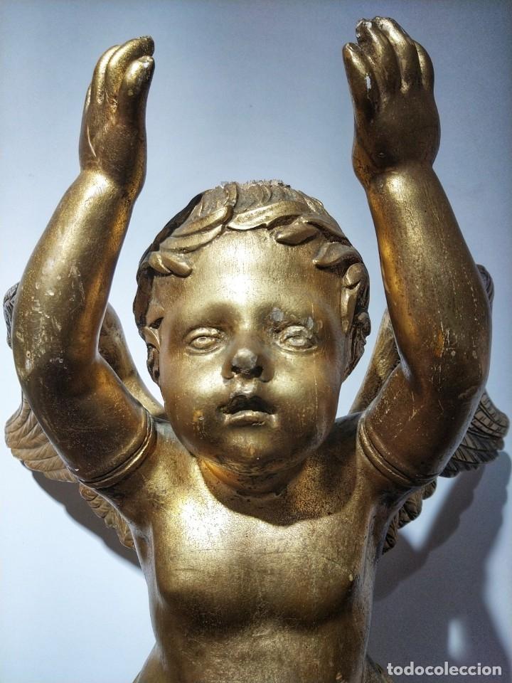 Arte: Par de Esculturas en Madera Dorada Siglo XIX - Foto 11 - 176516559