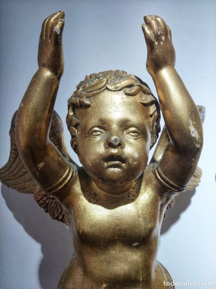 Arte: Par de Esculturas en Madera Dorada Siglo XIX - Foto 12 - 176516559