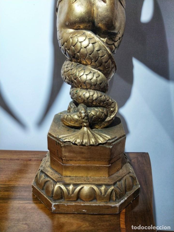Arte: Par de Esculturas en Madera Dorada Siglo XIX - Foto 13 - 176516559