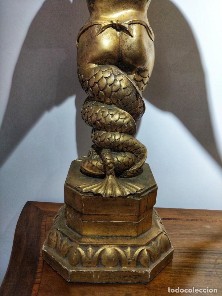 PAR DE ESCULTURAS EN MADERA DORADA SIGLO XIX (Arte - Escultura - Madera)