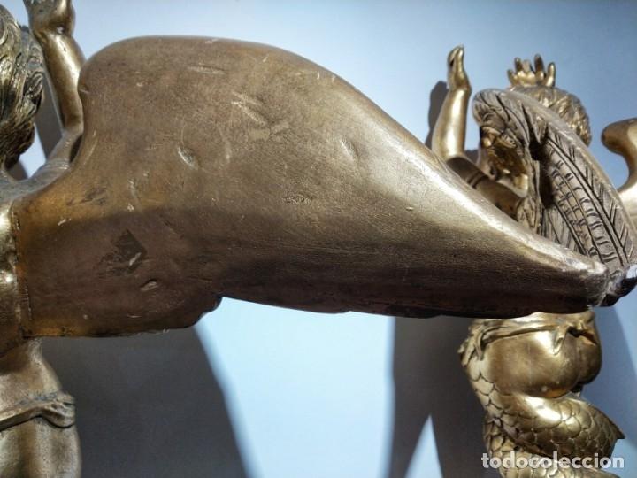 Arte: Par de Esculturas en Madera Dorada Siglo XIX - Foto 15 - 176516559