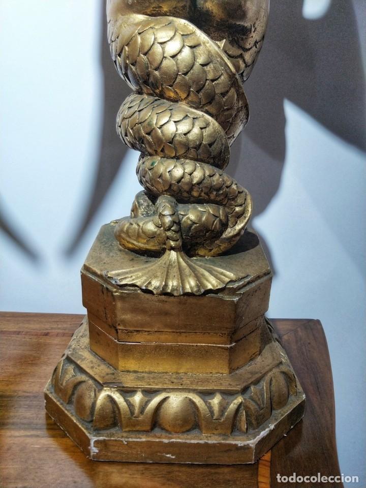 Arte: Par de Esculturas en Madera Dorada Siglo XIX - Foto 20 - 176516559