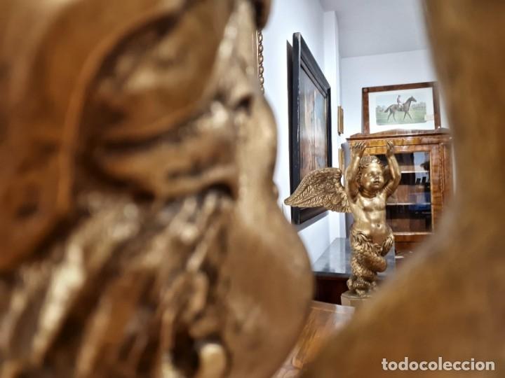 Arte: Par de Esculturas en Madera Dorada Siglo XIX - Foto 32 - 176516559