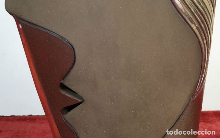 Arte: ROSTRO DE LADO. ESCULTURA EN CERÁMICA ESMALTADA. ODO CAMILLO TURRINI. SIGLO XX. - Foto 2 - 176716280