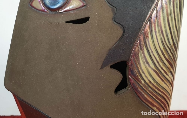 Arte: ROSTRO DE LADO. ESCULTURA EN CERÁMICA ESMALTADA. ODO CAMILLO TURRINI. SIGLO XX. - Foto 3 - 176716280