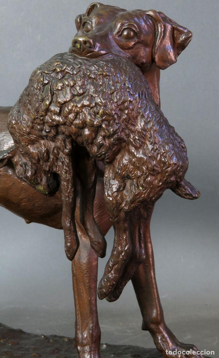 Arte: Escultura perro de caza con liebre en bronce patinado firmado Jules Moigniez Francia siglo XIX - Foto 4 - 176906720