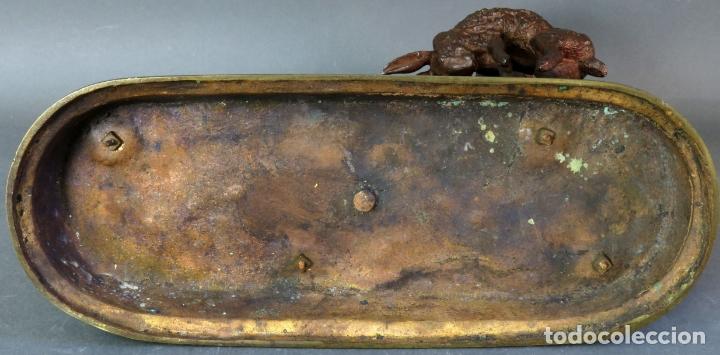 Arte: Escultura perro de caza con liebre en bronce patinado firmado Jules Moigniez Francia siglo XIX - Foto 11 - 176906720