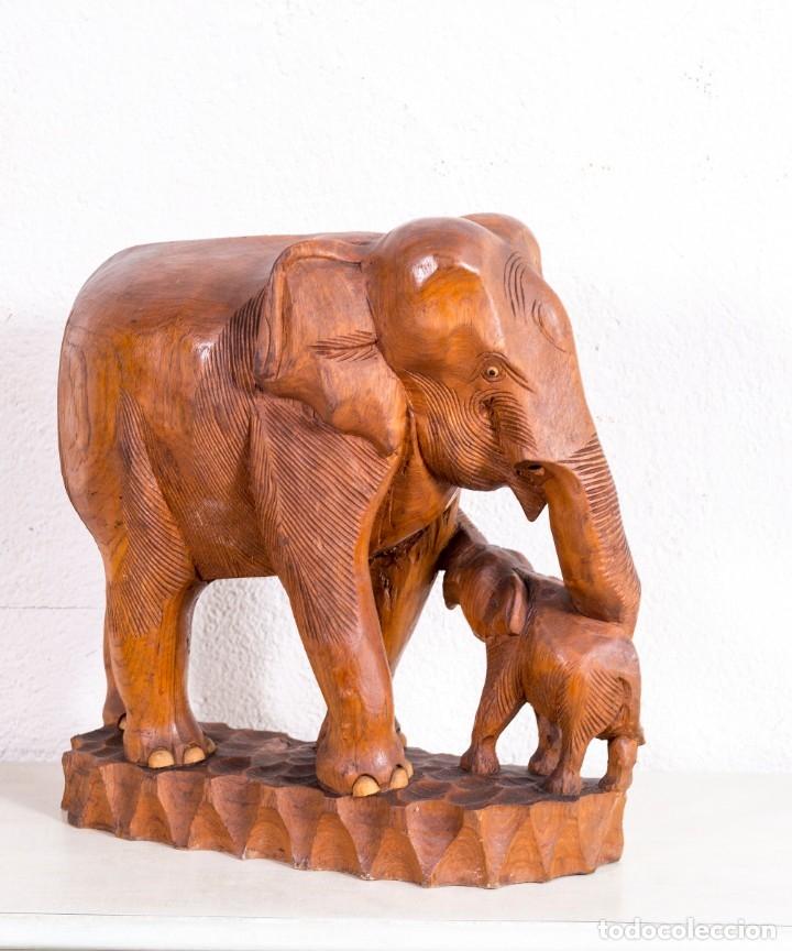 Arte: Escultura De Elefante De Madera - Foto 2 - 177403257