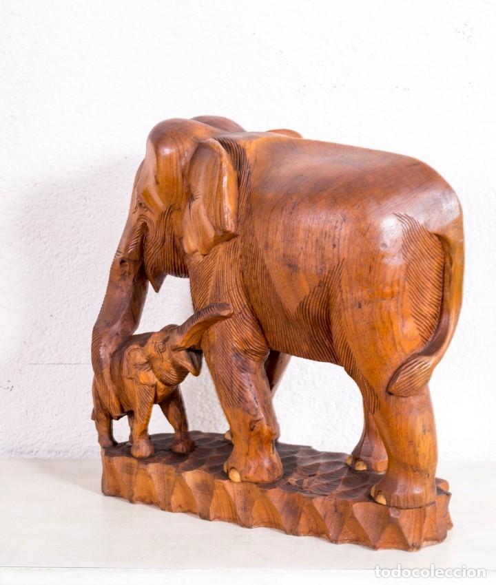 Arte: Escultura De Elefante De Madera - Foto 4 - 177403257