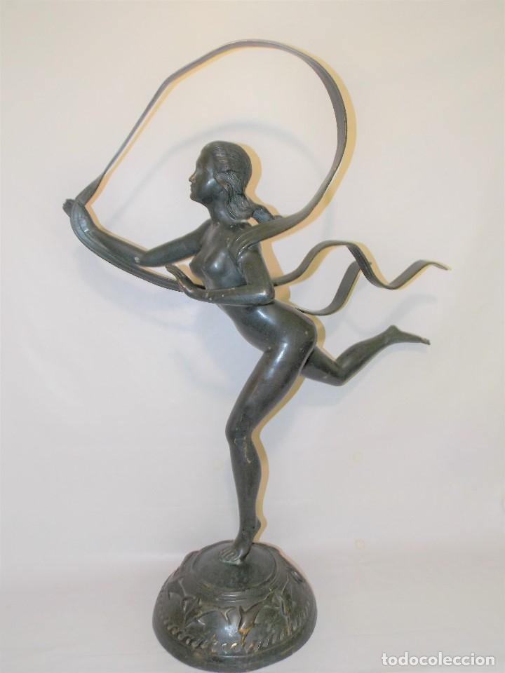 ANTIGUA E IMPONENTE ESCULTURA FIGURA DE BRONCE FRANCESA BAILARINA ART DECO 1920 CIRCA - 86 CM (Arte - Escultura - Bronce)