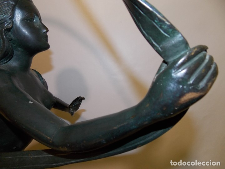 Arte: ANTIGUA E IMPONENTE ESCULTURA FIGURA DE BRONCE FRANCESA BAILARINA ART DECO 1920 CIRCA - 86 cm - Foto 3 - 177630335