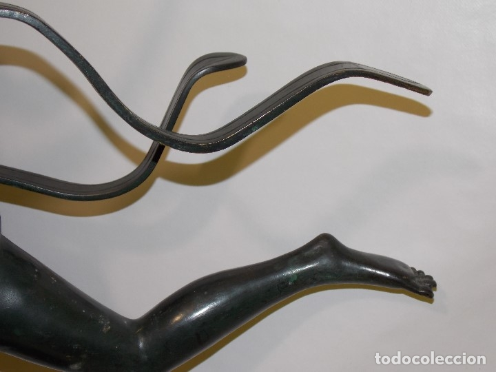 Arte: ANTIGUA E IMPONENTE ESCULTURA FIGURA DE BRONCE FRANCESA BAILARINA ART DECO 1920 CIRCA - 86 cm - Foto 9 - 177630335