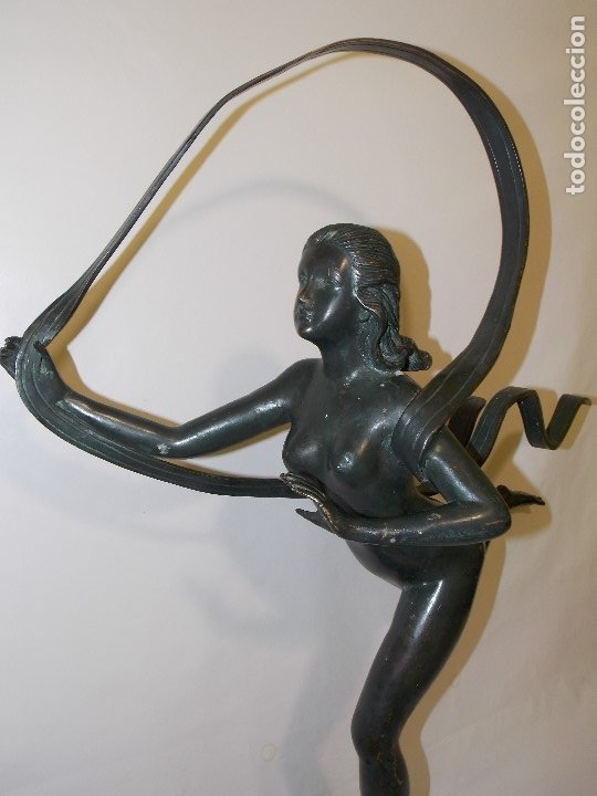 Arte: ANTIGUA E IMPONENTE ESCULTURA FIGURA DE BRONCE FRANCESA BAILARINA ART DECO 1920 CIRCA - 86 cm - Foto 17 - 177630335