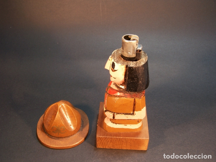 Arte: Bonita figura de guardabosques portamechero clipper. Hecho y pintado a mano. 15 cm. - Foto 2 - 177669454