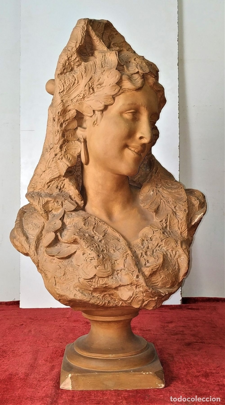 Arte: BUSTO DE DAMA ESPAÑOLA. TERRACOTA. FIRMADO VENANCIO VALLMITJANA. ESPAÑA. FIN SIGLO XIX - Foto 2 - 178752173