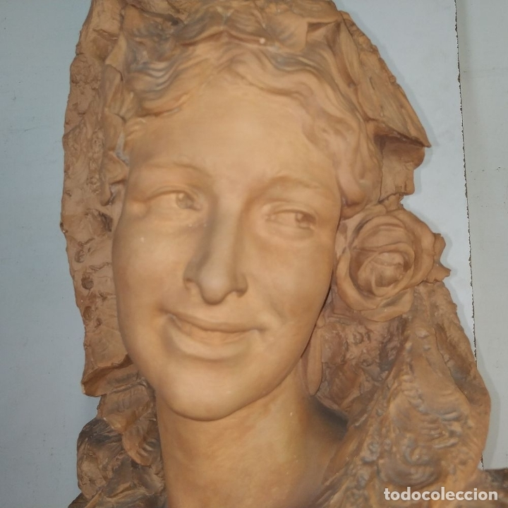 Arte: BUSTO DE DAMA ESPAÑOLA. TERRACOTA. FIRMADO VENANCIO VALLMITJANA. ESPAÑA. FIN SIGLO XIX - Foto 13 - 178752173