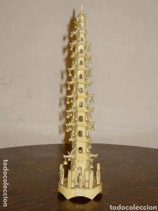 Arte: Escultura Pagoda casa, China antigua marfil - Foto 2 - 178763415
